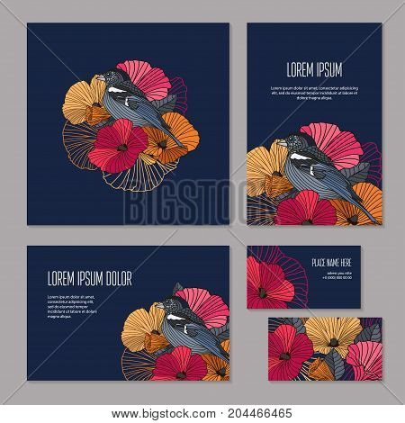 Set floristic elements, corporate identity template for flower shop, workshop or salon. Bright abstract flowers and bird with outlines on dark background, Banners. brochure, booklet and business card