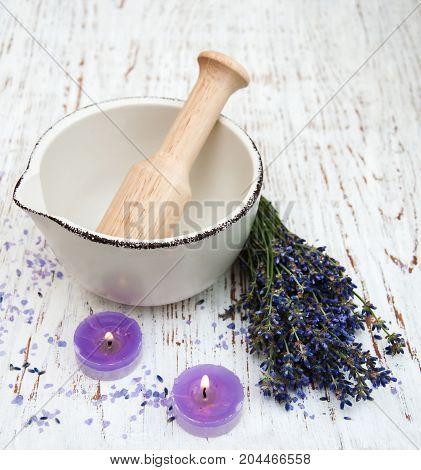 Lavender Oil With Bath Salt And Fresh Lavender