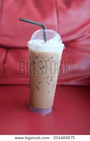 Iced Chocolate Or Iced Cocoa In A Take A Way Of Plastic Cup