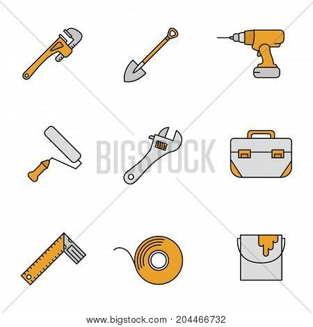 Construction tools color icons set. Monkey wrench, spade, cordless drill, paint roller and bucket, tool box, set square, adhesive tape roll. Isolated vector illustrations