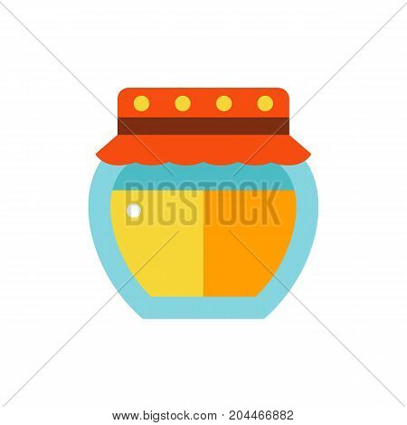 Icon of honey jar. Dessert, ingredient, container. Bee garden concept. Can be used for topics like healthy eating, apiary, preserving