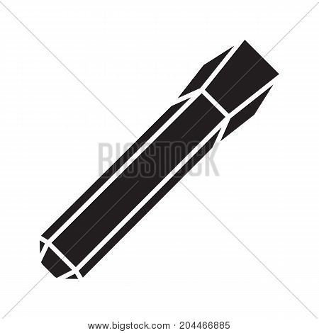Iron chisel glyph icon. Silhouette symbol. Negative space. Vector isolated illustration