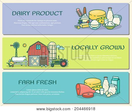 Vector set of farm horizontal banners. Dairy product, Locally grown, Farm fresh concepts in modern thin line flat style for farming business advertising.