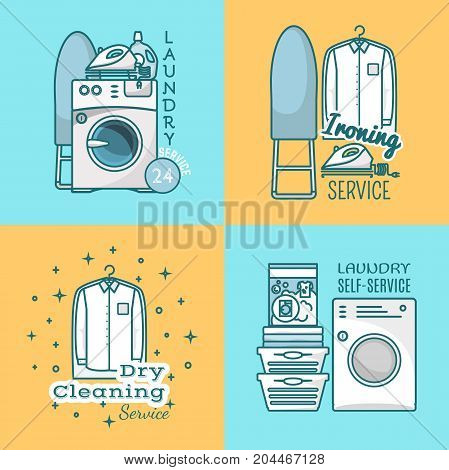 Vector set of laundry labels. Around the clock laundry service, ironing and dry cleaning services, laundry self-service typography linear design elements, badges, logos, emblems.