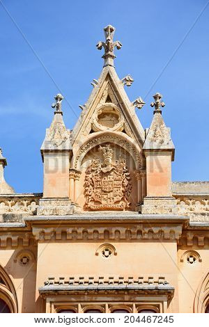 Coat of arms on the Bishops Palace in the Pjazza San Pawl Mdina Malta Europe.
