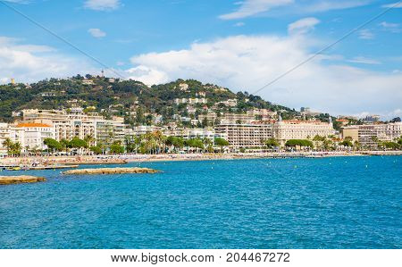 Cannes, ITALY - September 18, 2016: Cannes view from the sea