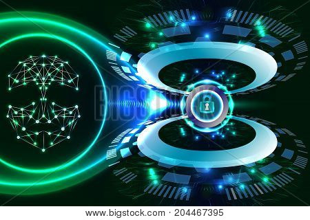 Digital technology business, face recognition, security concept. Illustration vector