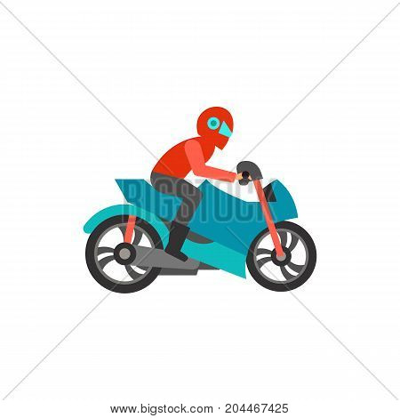 Icon of motorcyclist on bike. Biker, riding, helmet. Racing motorbike concept. Can be used for topics like freedom, travel, extreme