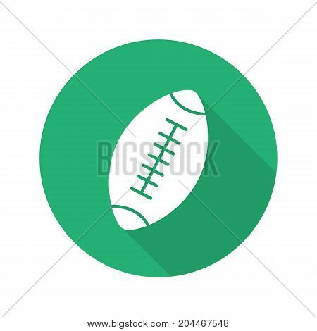 Rugby ball flat design long shadow glyph icon. American football ball. Vector silhouette illustration