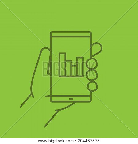 Hand holding smartphone linear icon. Smart phone statistics chart. Thin line outline symbols on color background. Vector illustration