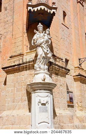 MDINA, MALTA - APRIL 1, 2017 - Mary and Jesus statue outside the Church of the Annunciation of our Lady along Triq Il Villegaignon Mdina Malta Europe, April 1, 2017.