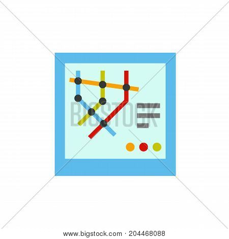 Icon of subway map. Crossing lines, metro, information. Public place navigation concept. Can be used for topics like underground,  guidance, transportation