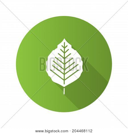 Poplar leaf flat design long shadow glyph icon. Vector silhouette illustration