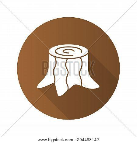 Stump flat design long shadow glyph icon. Deforestation. Vector silhouette illustration