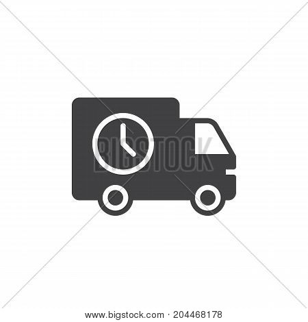 Shipping truck with clock icon vector, filled flat sign, solid pictogram isolated on white. Delivery in time symbol, logo illustration. Pixel perfect vector graphics
