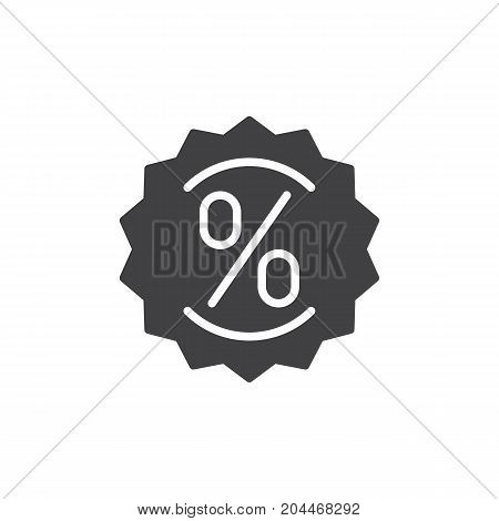 Label with percent sign icon vector, filled flat sign, solid pictogram isolated on white. Discount symbol, logo illustration. Pixel perfect vector graphics