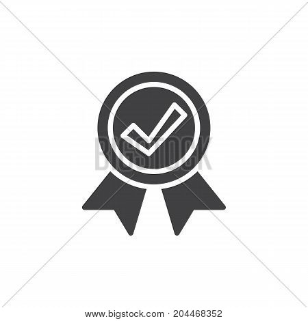 Medal with check mark icon vector, filled flat sign, solid pictogram isolated on white. Guarantee symbol, logo illustration. Pixel perfect vector graphics