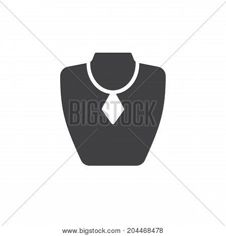 Necklace display icon vector, filled flat sign, solid pictogram isolated on white. Jewelry bust symbol, logo illustration. Pixel perfect vector graphics