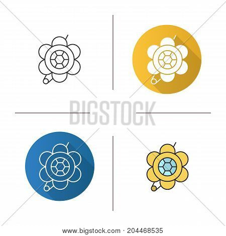 Brooch icon. Flat design, linear and color styles. Flower shape brooch. Isolated vector illustrations