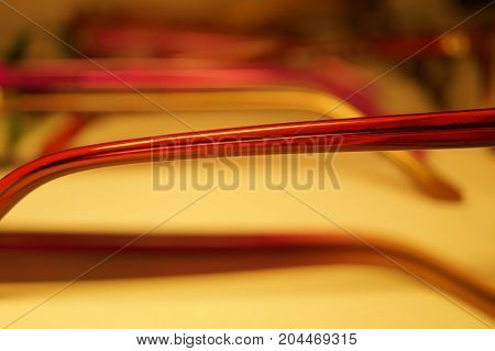 Rimmed Eyeglasses Closeup On A White Background