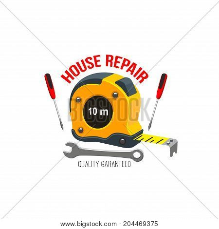 House repair icon with hand and measuring tools. Screwdriver, spanner, wrench and tape measure isolated symbol for construction company and handyman service emblem design