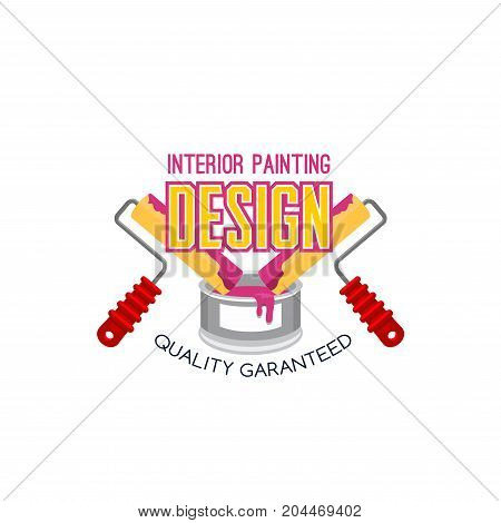 Interior painting symbol with painter tool. Paint roller with can of interior paint isolated icon for house repair and painting service emblem, construction and finishing work themes design