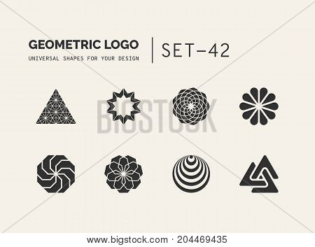 Set of universal minimal geometric logos Simple vector sign will give a recognizable accent to your startup
