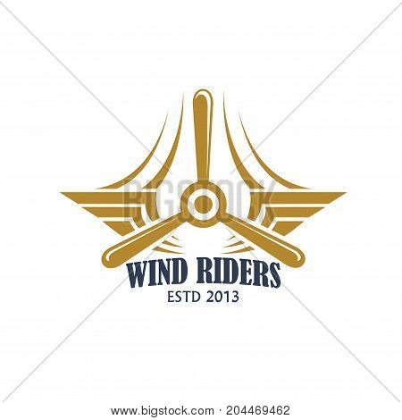 Aviation retro badge with airplane propeller. Air travel and flying club isolated icon with vintage plane silhouette, wing and airscrew for air transport and aircraft themes design