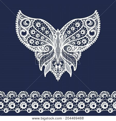 Vector lace neckline and border. Neck print with butterfly shape and floral ornament. Decorative elements for design and fashion. Lacy vintage ornament