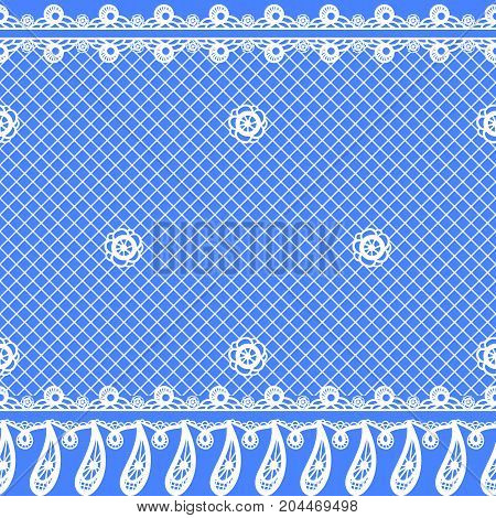 Vector seamless texture with lace design and borders. Colored floral pattern with decorative elements, flowers and leaves. Lacy vintage ornament