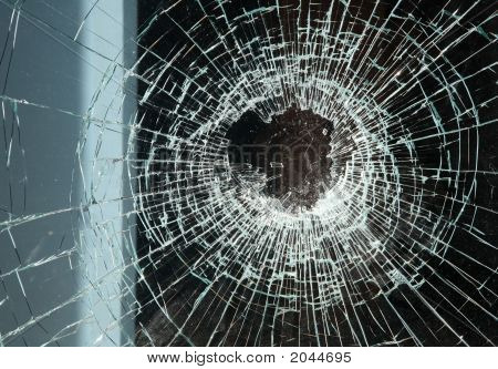 A Close Up Of Smashed Shop Window Glass.