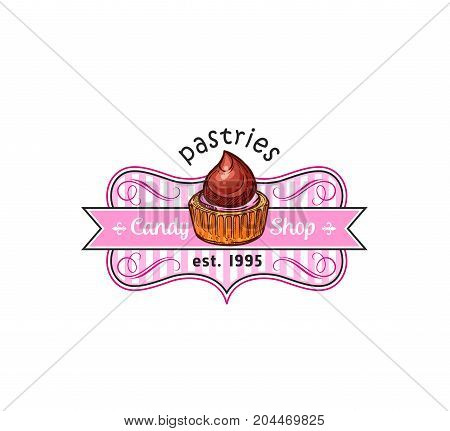 Cake dessert badge of pastry shop. Cupcake or muffin with chocolate cream and strawberry fruit glaze isolated symbol with ribbon banner for candy shop, bakery and cafe emblem, food packaging design