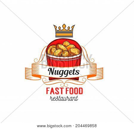 Fast food restaurant label with chicken nuggets. Crispy fried meat snack in takeaway paper box isolated symbol with ribbon banner and crown for fast food cafe emblem design
