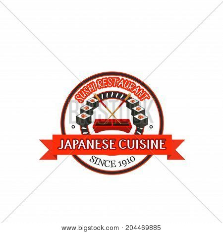 Japanese restaurant badge with seafood sushi. Salmon sushi roll platter with chopsticks and soy sauce bowl isolated label for japanese cuisine food packaging design