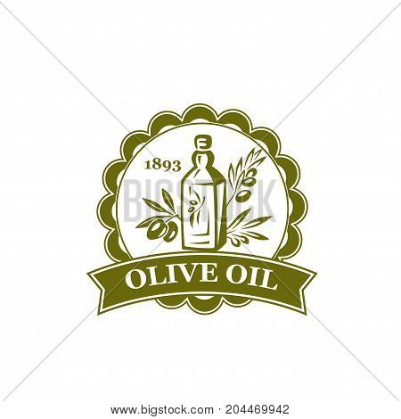 Olive branch with bottle round label. Extra virgin olive oil product badge of olive tree with fruit and leaf for cooking oil and food packaging, greek cuisine ingredient design