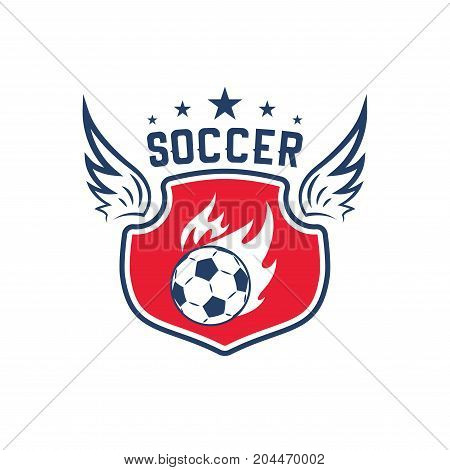 Soccer sport club badge of football team game. Flaming ball flying with fire flame motion trail on heraldic shield with wing and star for soccer game competition or football match emblem design