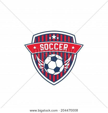Soccer team badge with football sport ball. Winged ball on striped shield with ribbon banner and star isolated label for soccer or football sport game competition or tournament themes design