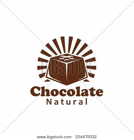 Chocolate bar or cocoa candy label. Natural chocolate, sweet dessert food with nuts isolated symbol for chocolate and candy shop emblem, confectionery packaging label design