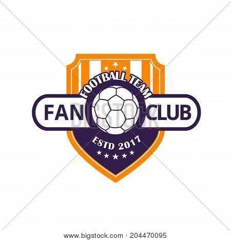 Football team or soccer sport game club badge. Football or soccer ball on heraldic shield with star isolated label for sport team emblem or sporting competition themes design