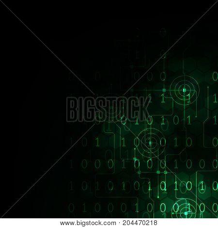 Digital world technology on a dark green background.