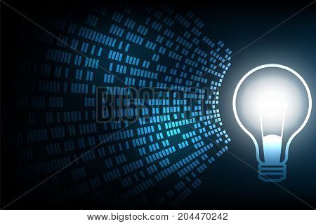 Light bulb in technology concept on a dark blue background.