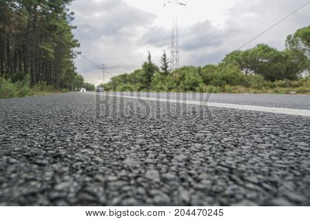 an asphalt road surrounded by trees as a background