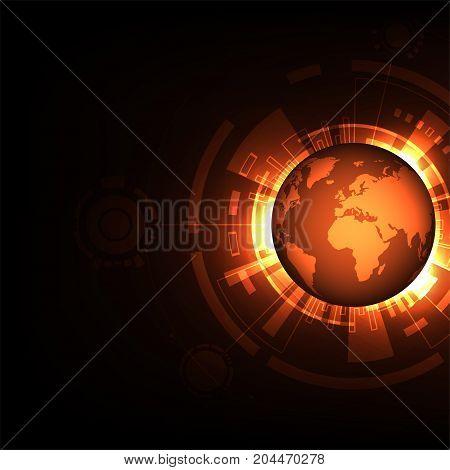 World of the future on a dark orange background.