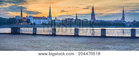 Panoramic view on old Riga city. The city is capital of Latvia and famous Baltic city widely known among tourists due to its unique medieval and Gothic architecture