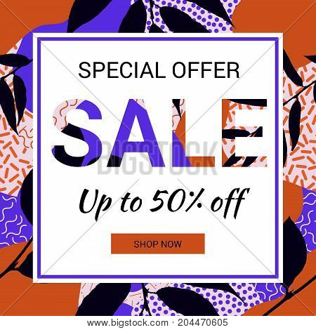 Social media promotional sale banner. Autumn leaves background. Patterns in trendy 80s and 90s Memphis style.  EPS10.