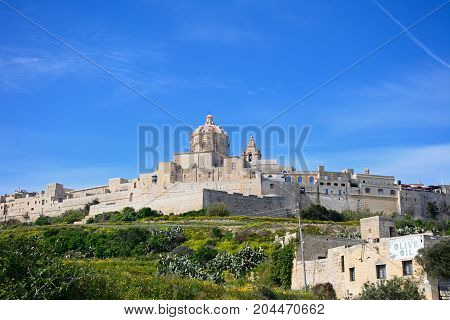 MDINA, MALTA - APRIL 1, 2017 - View of the citadel with the Cathedral to the centre Mdina Malta Europe, April 1, 2017.