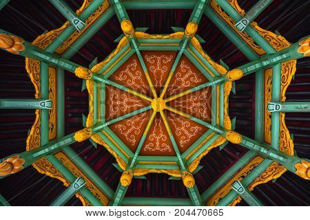 Traditional chinese abstract wooden roof as background closeup