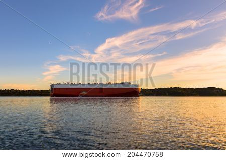 Large tanker ship ready to set sail at dusk