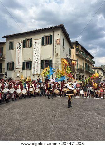 Ceremony In Wine Tasting Days In Greve In Chianti, Tuscany In Italy.
