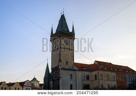 Church at the sunset on main square under blue sky